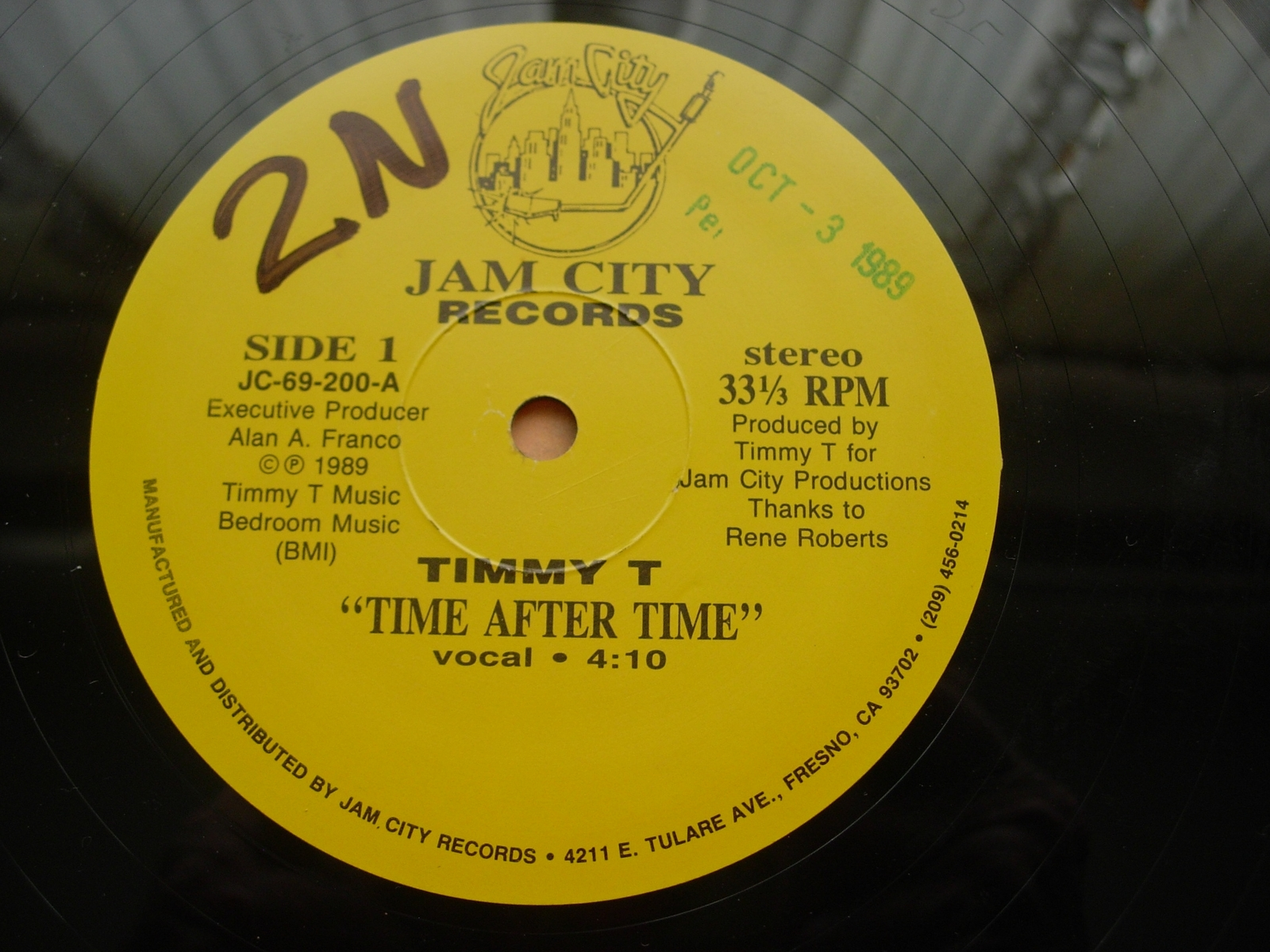 Timmy T - Time After Time - Jam City Records JC-69-200 - 3 Mixes PROMO