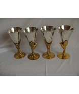 4 Vintage Silver Plate Champagne Cordial Licquere Brass Egyptian Bird St... - $113.85