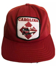 Vintage Carolina Trucking Hat Red White Snapback Made In USA Baseball Ca... - $34.64