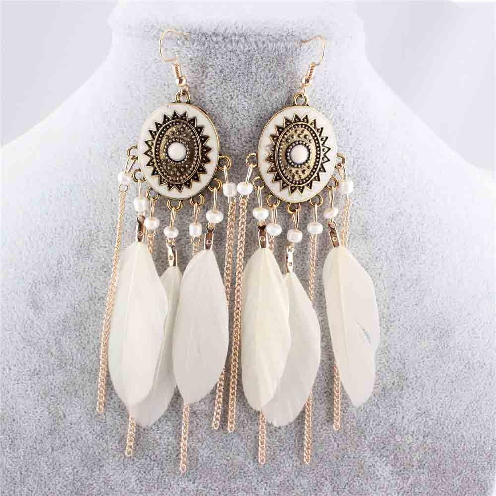 LUBINGSHINE 2017 European and American Tassel earrings Feather Leaf Drop Earring