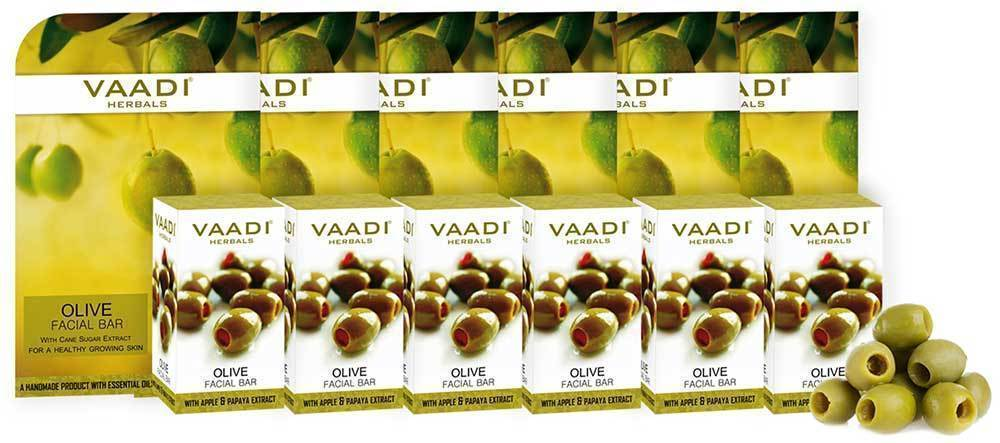 Vaadi Herbals Value Olive Facial Bars with Cane Sugar Extract  25Gram Pack Of 6