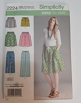 Simplicity Sewing Pattern 2224 Misses' Skirt, Pants or Shorts, Size A (XS-S-M-L- - $10.77