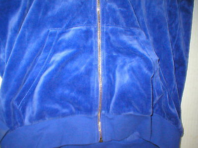 New Womens M Juicy Couture Velour Hoodie Purple Jacket Pretty M Bright Relaxed image 3