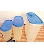 3 Vtg Tupperware Modular Mates Oval 1612 1613 Cereal 469  Blue Flip Spou... - $19.79