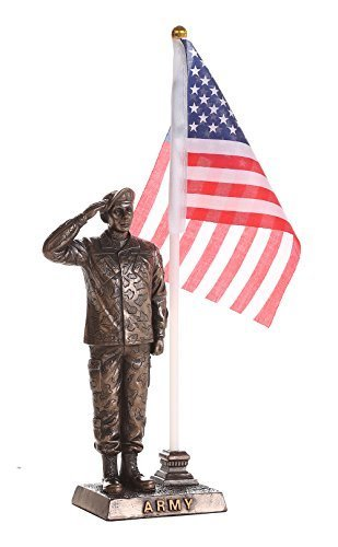Primary image for US Army Cold Cast Bronze Army Officer Salute Stars and Stripes Honoring America'