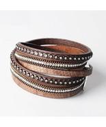 Fashion Women Wraps Brown Leather Bangle Charm Double Layer Bracelet - $12.99
