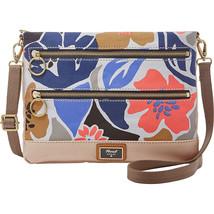 New Fossil Women Passport Top Zip Crossbody Bag Blue Floral - $65.33