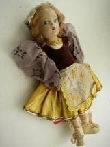 """Vintage,  Elegant 11"""" Composition Doll in Gold-Burgundy Gown - $33.20"""