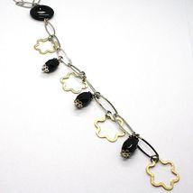 Collier Argent 925, Onyx Noir,Pendentif Fleurs, Marguerite, Chute image 3