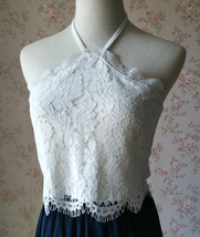 White Lace Crop Top Bridesmaid Separates Lace Top Crop Sleeve Custom Plus Size image 13