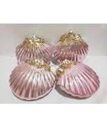 "4.5"" Coastal Beach Shabby Chic Pink Gold Embellished Clam Ornaments Set ... - $32.99"