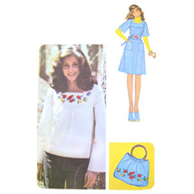 1970s Vintage McCalls Sewing Pattern 4663 Misses Pullover Top Dress Embr... - $8.95