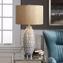 "FARMHOUSE XL 30"" EMBOSSED TRIBAL AGED CERAMIC ACCENT TABLE BUFFET LAMP U... - $270.60"