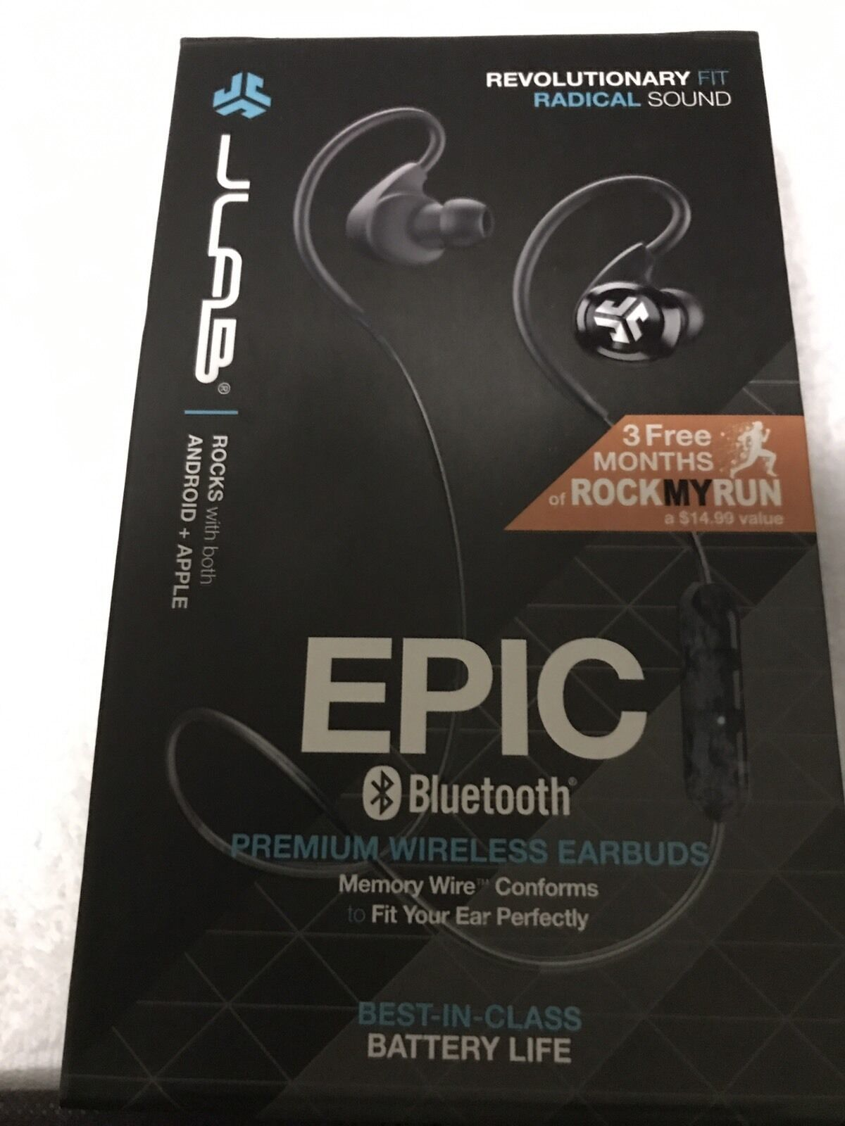 JLab Epic Bluetooth 4.0 Wireless Sports Earbuds w/ 10 Hour Battery IPX4 Swtproof