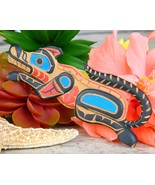 Pacific Northwest Coast Native Wolf Carved Wooden Brooch Alan Natrall - $89.95