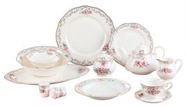 Shabby Chic Victorian Rose Royal Elegance Bone China 57 Piece Dinnerware... - $635.00