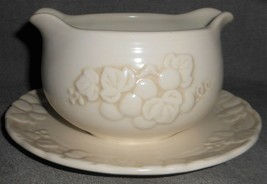 Metlox ANTIQUE GRAPE PATTERN Gravy Boat w/Attached Underplate MADE IN CA... - $19.79