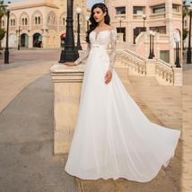 Long Sleeve Appliques Lace V- Neck High Waist Bridal Wedding Gown