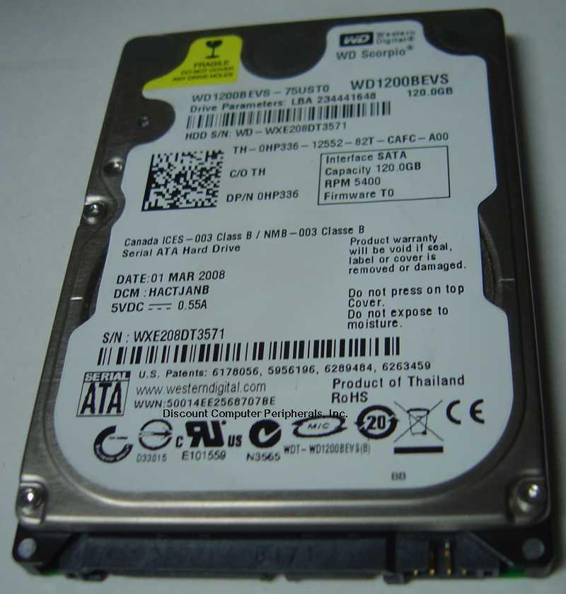 NEW 120GB SATA 2.5 inch 9.5MM Hard Drive WD WD1200BEVS Free USA Shipping
