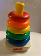 Vintage FISHER PRICE ROCK-A-STACK 5 Color RINGS Developmental Toy - $7.95