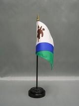 "Lesotho 4X6"" Table Top Flag W/ Base New Desk Top Handheld Stick Flag - $4.95"