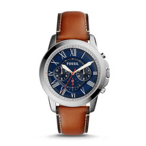 fossil man genuine leather Chronograph Brown strips watch - $115.00