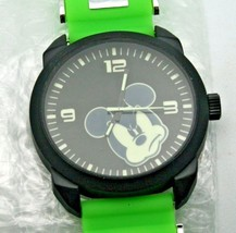 Disney Watch Mickey Mouse XL 45mm Men's Black Case W/ Lime Green Band Watch New - $107.86