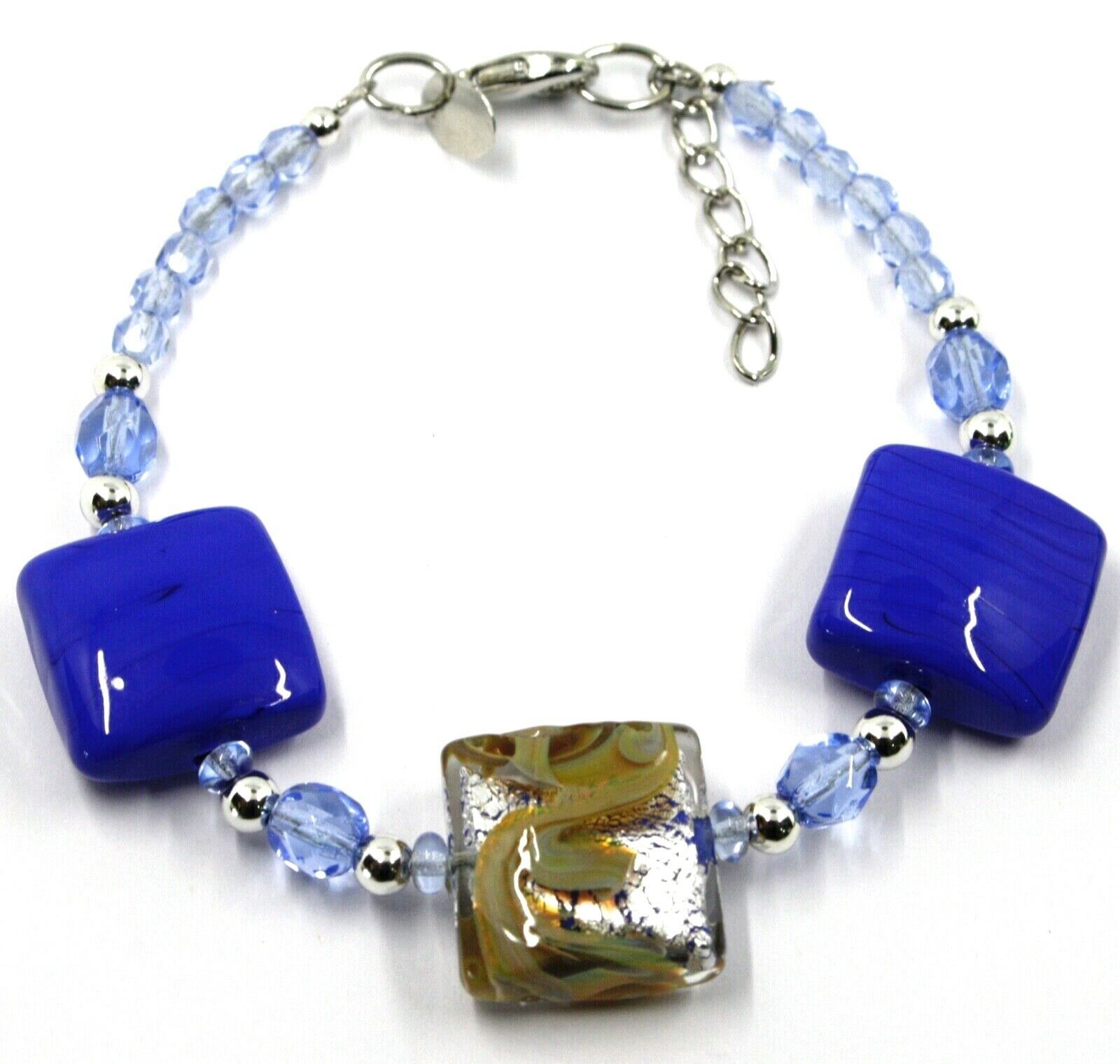 """BRACELET WITH BLUE MURANO SQUARE GLASS & SILVER LEAF, MADE IN ITALY, 19cm, 7.5"""""""