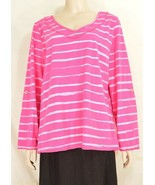Fresh Produce top M/L heavier weight knit long sleeve rose light stripes... - $39.59