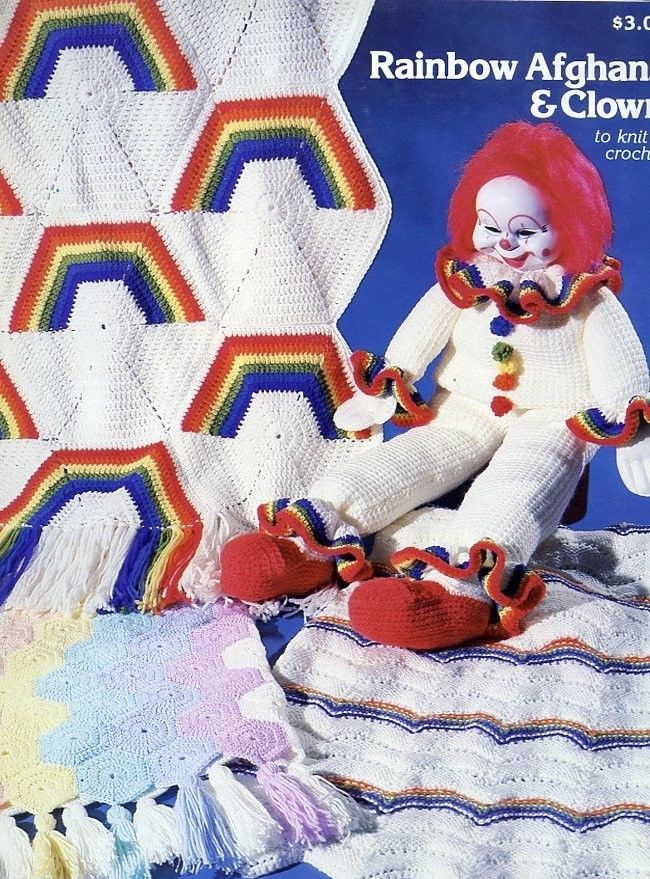Rainbow Afghans & Clown to Knit & Crochet Pattern
