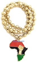Power Fist On Pan-African Africa Pendant With 30 Inch Long 8mm Bead Necklace - $16.91