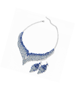 "Crystal Earrings Statement Bib Necklace Jewelry Set for Women 20"" Cttw 49.2 - $41.22+"