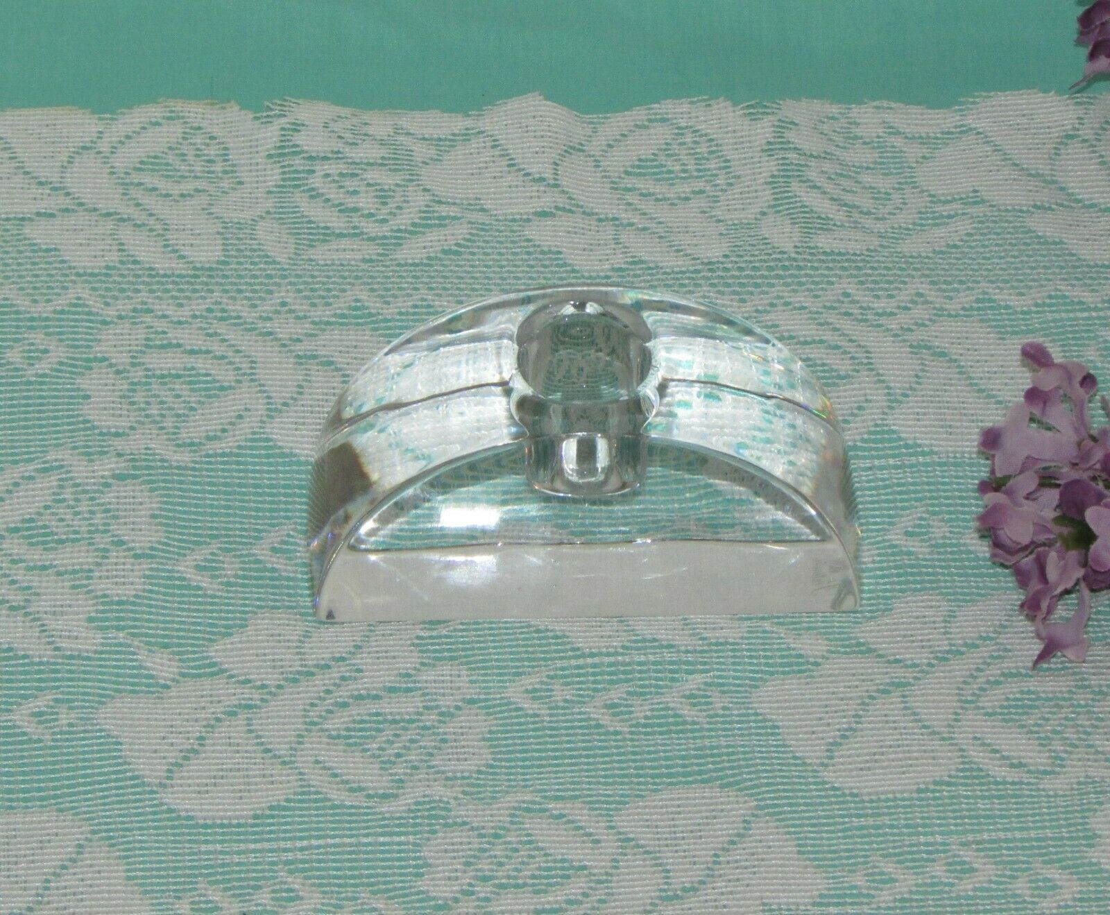 MIKASA CRYSTAL CANDLE HOLDER SIGNATURE ARCHED TAPER SINGLE HEAVY SIGNED image 2