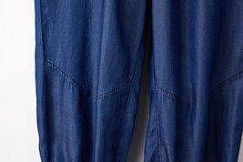 Dark Blue Denim CROP PANTS Drawstring Elastic Waisted Crop HAREM PANTS Trousers image 6