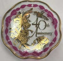 Lefton Glass Plate 40th Anniversary Gift Charger Celebration Decor Gold ... - $24.77