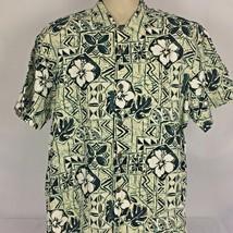 Hilo Hattie Mens Large L Short Sleeve Hawaiian Shirt Green White Floral ... - $23.75