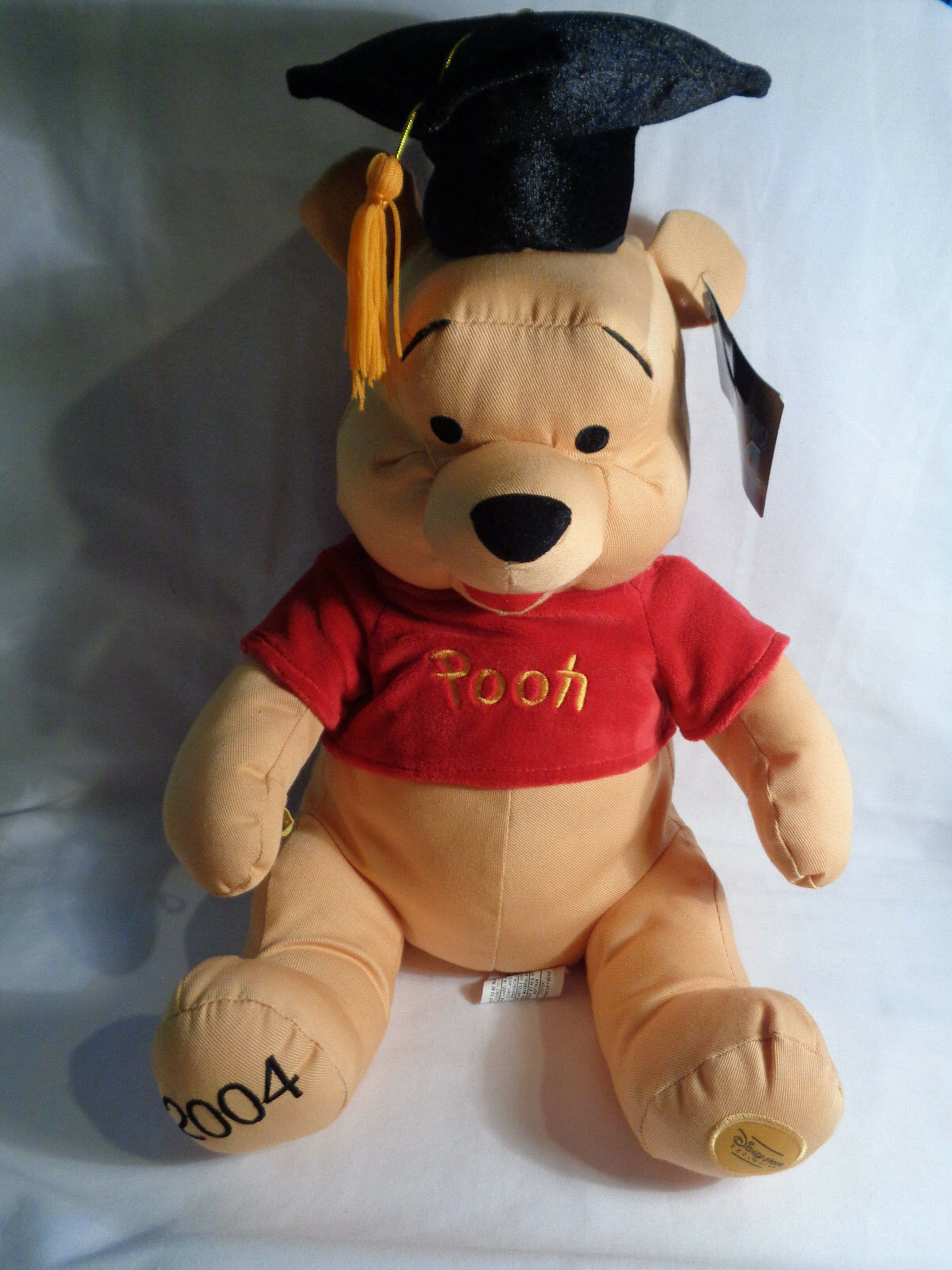 Primary image for 2004 Disney Store Exclusive Winnie the Pooh Graduate Grad Twill Fabric Plush 14""