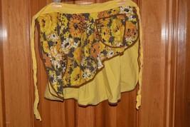 Vintage half waist apron pocket reversible gold & brown Fall Autumn hand... - $8.72