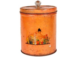 Vintage Orange Tin with Clear Knob - Retro Kitchen Container - Midcentur... - $18.70