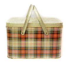 Vintage GSW Picnic Basket Lunchbox Red Plaid - $123.72