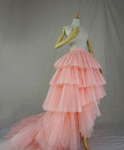 High Low Tiered Tulle Skirt Layered Tulle Skirt with Train Blush Bridal Gowns image 2