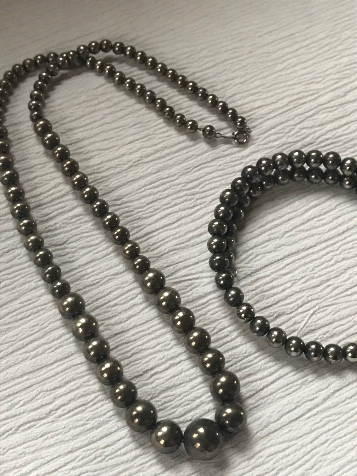 Estate Demi Graduated Hollow SilvertoneBead Necklace & Double Wrap Bracelet –
