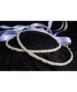 Greek Orthodox Wedding Stefana White Pearl Hand Wired Bridal Crown Set - $85.45