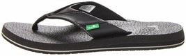 NEW Sanuk Men's Black Beer Cozy Thong Flip-Flop Beach Sandals Slippers 1174140