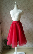 RED High Waisted Tulle Skirt Knee Length Midi Circle Skirt Red Party Skirt NWT image 4