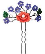 Poppy Hair Pin - Collectible Flower Hairpin Beauty Accessory Figure - $12.86