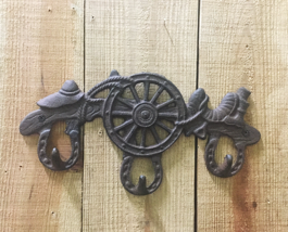 Cast Iron Wagon Wheel with 3 Hooks Wall Mounted Western Decor - $12.86