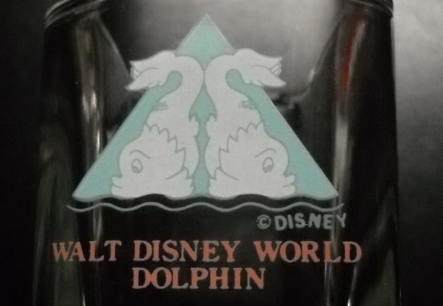 Walt Disney World Dolphin Resort Shot Glass Square Style Clear Glass Pale Blue