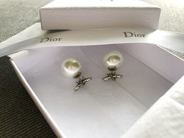 Authentic Christian Dior Tribal Earrings 2017 Gold Tone Aged Metal Pearl Crystal image 2