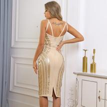 New Runway Arrival Sexy Silver Sequin Sexy Bodycon Summer Party Dress image 3